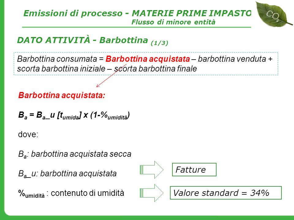 Barbottina acquistata: B a = B a _u [t umida ] x (1-% umidità ) dove: B a : barbottina acquistata secca B a _u: barbottina acquistata % umidità : cont
