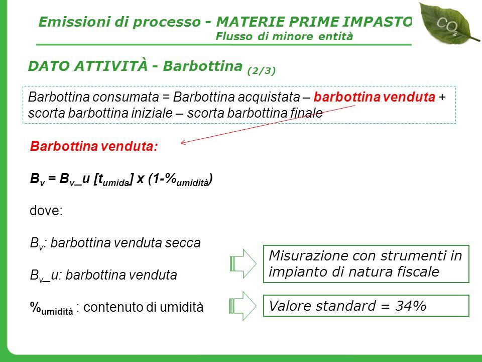 Barbottina venduta: B v = B v _u [t umida ] x (1-% umidità ) dove: B v : barbottina venduta secca B v _u: barbottina venduta % umidità : contenuto di
