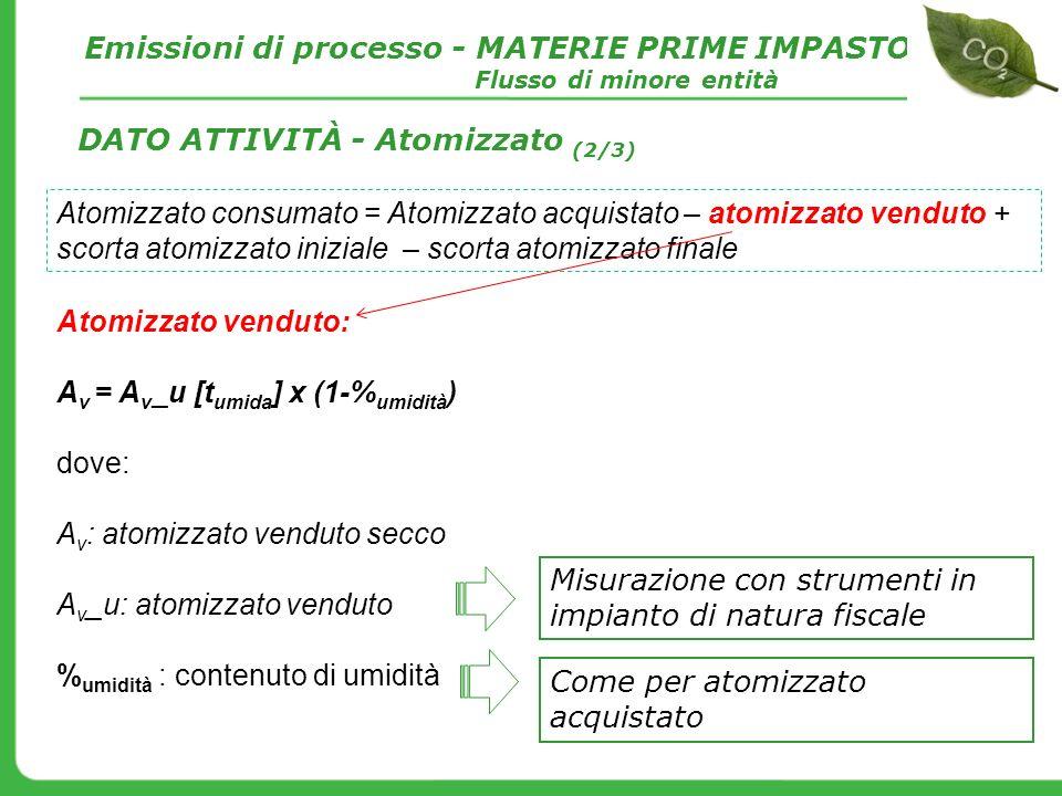 Atomizzato venduto: A v = A v _u [t umida ] x (1-% umidità ) dove: A v : atomizzato venduto secco A v _u: atomizzato venduto % umidità : contenuto di