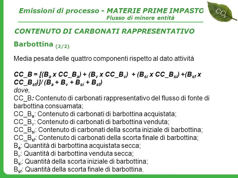 Barbottina (2/2) Media pesata delle quattro componenti rispetto al dato attività CC_B = [(B a x CC_B a ) + (B v x CC_B v ) + (B si x CC_B si ) +(B sf
