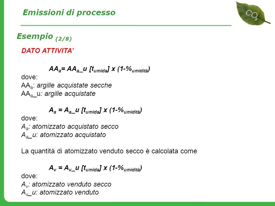 DATO ATTIVITA AA a = AA a _u [t umida ] x (1-% umidità ) dove: AA a : argille acquistate secche AA a _u: argille acquistate A a = A a _u [t umida ] x
