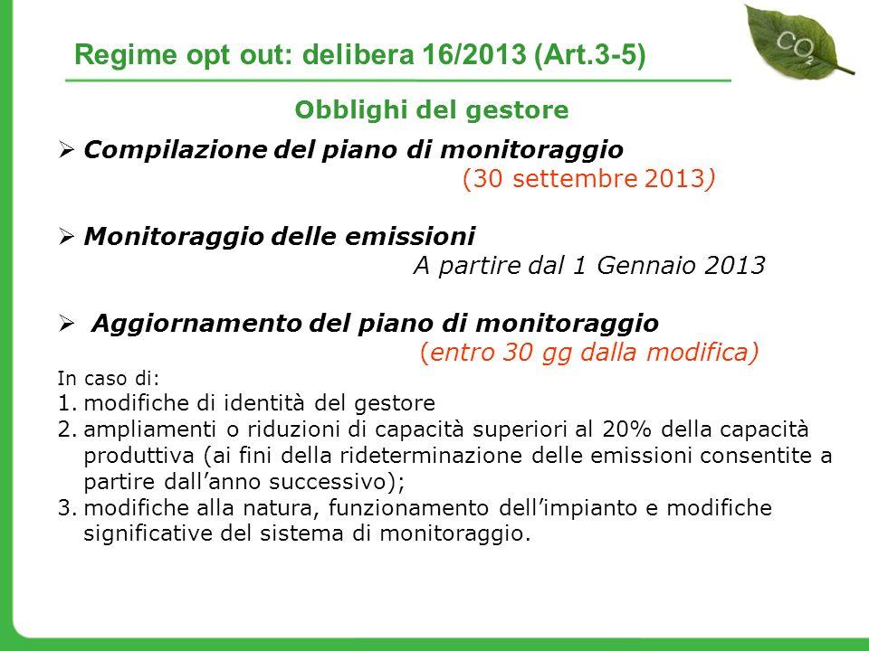 Compilazione del piano di monitoraggio (30 settembre 2013) Monitoraggio delle emissioni A partire dal 1 Gennaio 2013 Aggiornamento del piano di monito
