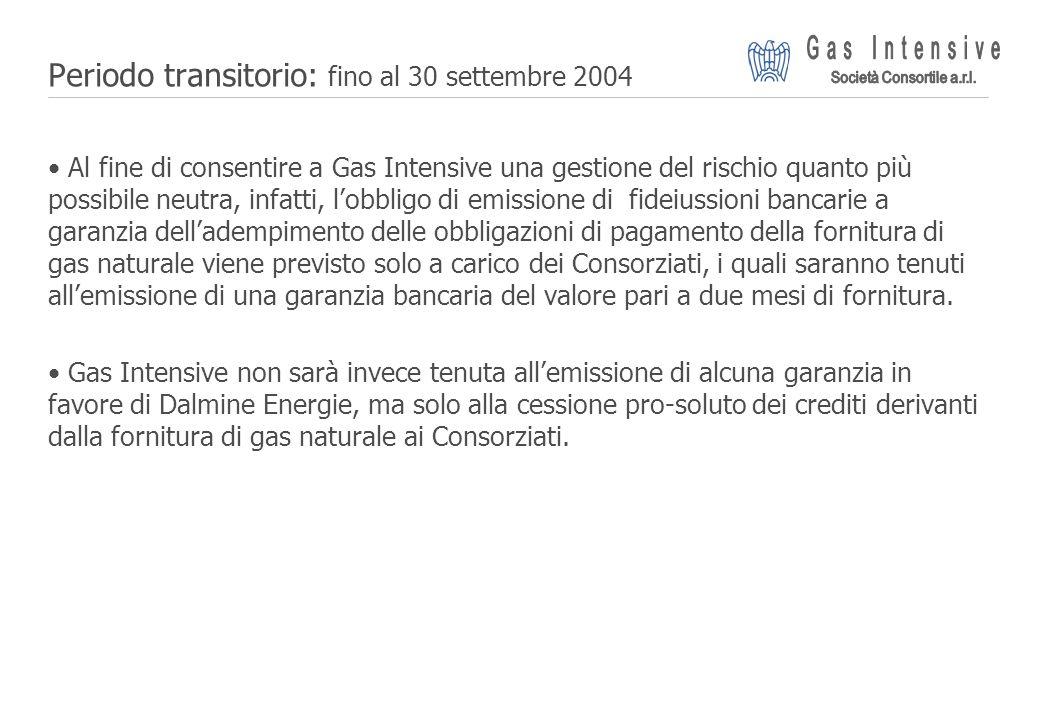 ©2004 Dalmine Energie | Page 13 | Periodo transitorio: fino al 30 settembre 2004 Al fine di consentire a Gas Intensive una gestione del rischio quanto