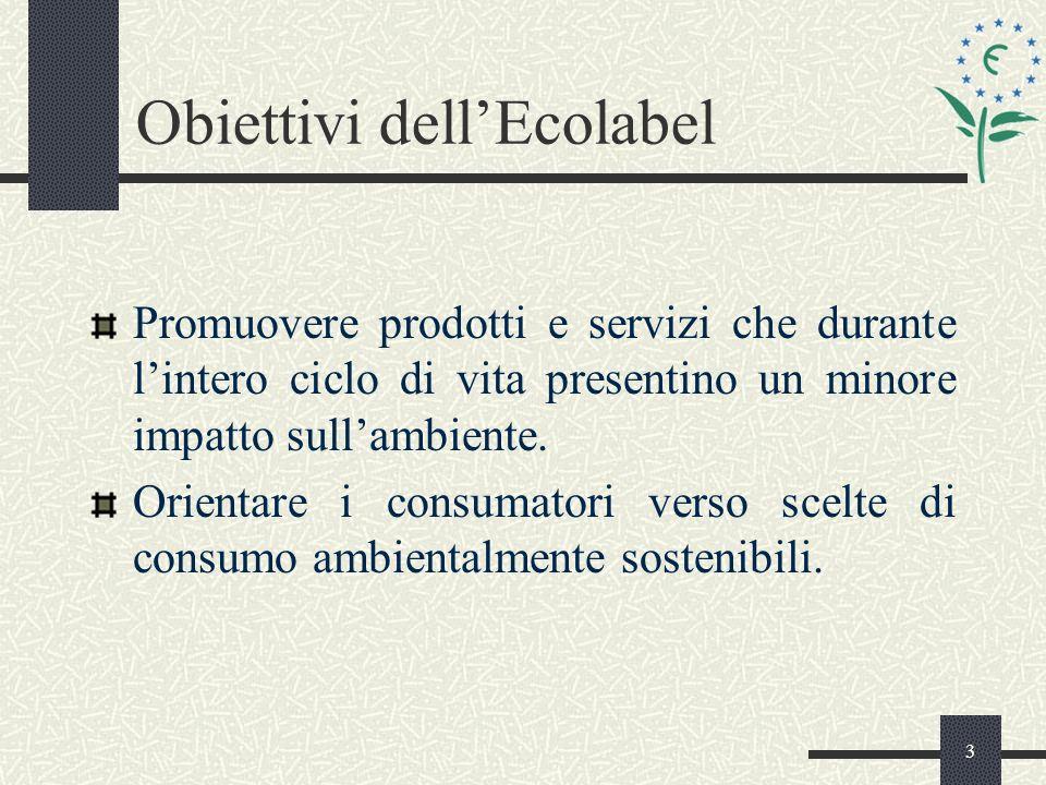 3 Obiettivi dellEcolabel Promuovere prodotti e servizi che durante lintero ciclo di vita presentino un minore impatto sullambiente.