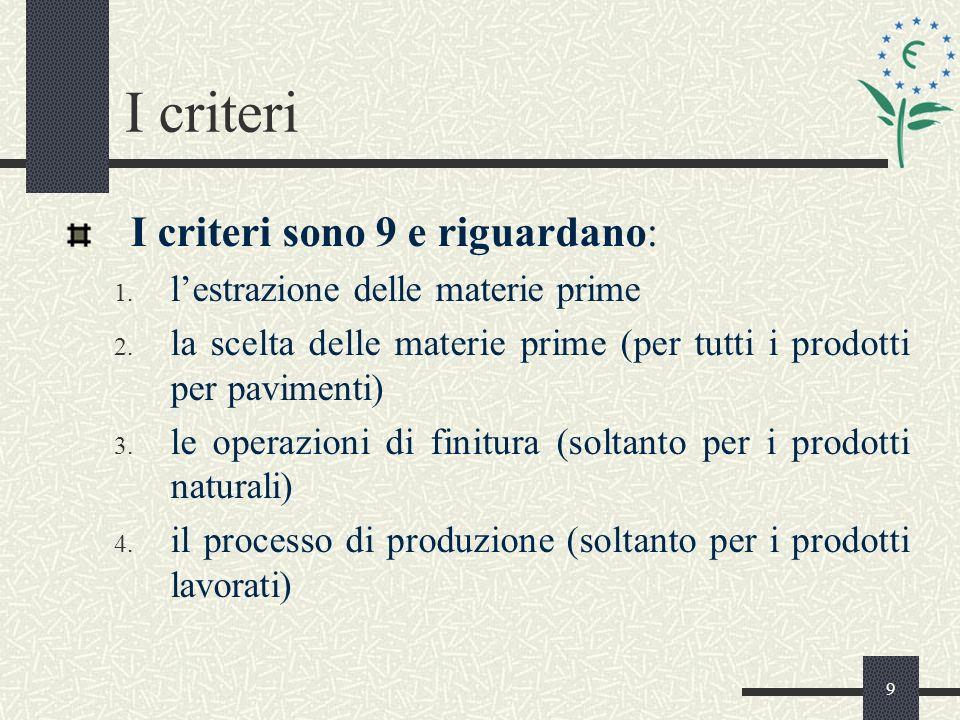 9 I criteri I criteri sono 9 e riguardano: 1. lestrazione delle materie prime 2.