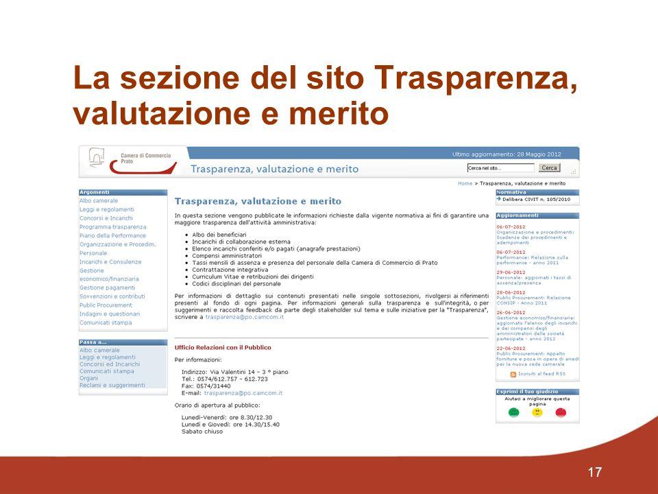 17 La sezione del sito Trasparenza, valutazione e merito