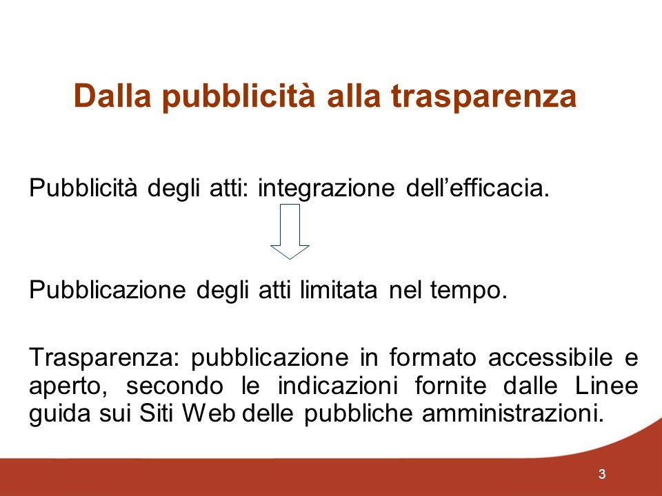3 Dalla pubblicità alla trasparenza Pubblicità degli atti: integrazione dellefficacia. Pubblicazione degli atti limitata nel tempo. Trasparenza: pubbl