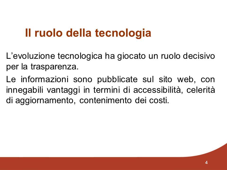 4 Il ruolo della tecnologia Levoluzione tecnologica ha giocato un ruolo decisivo per la trasparenza. Le informazioni sono pubblicate sul sito web, con
