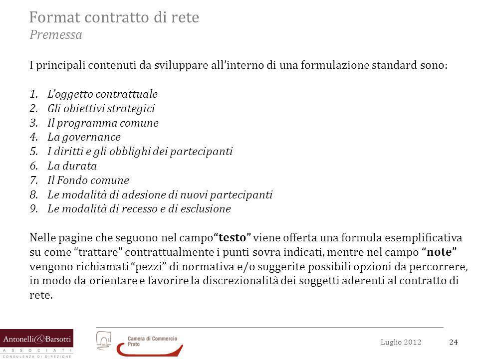 24Luglio 2012 Format contratto di rete Premessa I principali contenuti da sviluppare allinterno di una formulazione standard sono: 1.Loggetto contratt