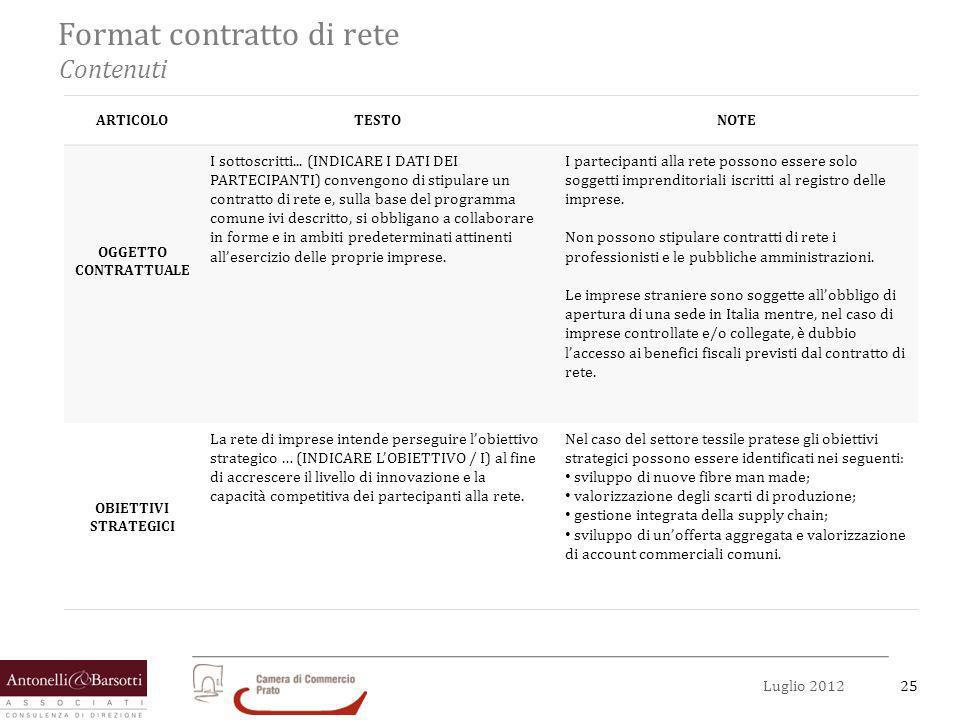 26Luglio 2012 Format contratto di rete Contenuti ARTICOLOTESTONOTE PROGRAMMA COMUNE Il programma comune si articola nelle attività di ….( INDICARE LE ATTIVITA), volte al raggiungimento degli obiettivi strategici precedentemente evidenziati.