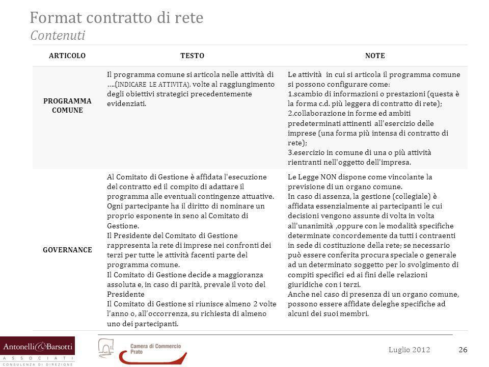 27Luglio 2012 Format contratto di rete Contenuti ARTICOLOTESTONOTE DIRITTI E OBBLIGHI DEI PARTECIPANTI Le imprese partecipanti alla rete si obbligano a conferire al fondo comune…..