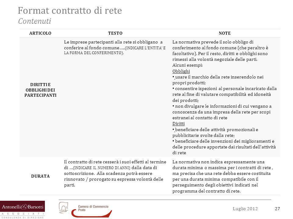 27Luglio 2012 Format contratto di rete Contenuti ARTICOLOTESTONOTE DIRITTI E OBBLIGHI DEI PARTECIPANTI Le imprese partecipanti alla rete si obbligano