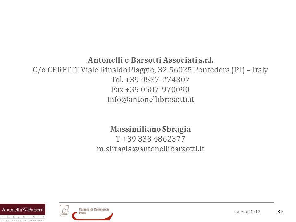 30Luglio 2012 Antonelli e Barsotti Associati s.r.l. C/o CERFITT Viale Rinaldo Piaggio, 32 56025 Pontedera (PI) – Italy Tel. +39 0587-274807 Fax +39 05
