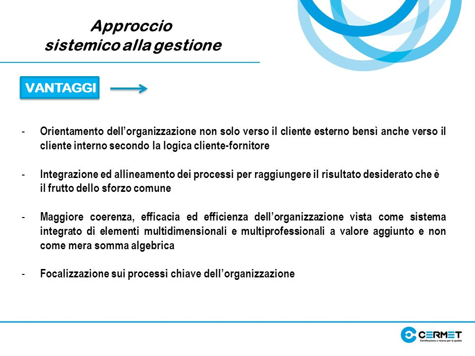 Approccio sistemico alla gestione - Orientamento dellorganizzazione non solo verso il cliente esterno bensì anche verso il cliente interno secondo la