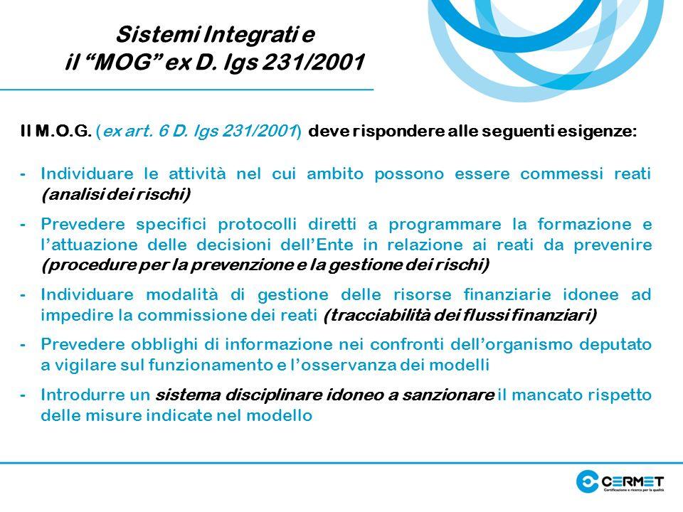 Sistemi Integrati e il MOG ex D. lgs 231/2001 Il M.O.G. (ex art. 6 D. lgs 231/2001) deve rispondere alle seguenti esigenze: -Individuare le attività n