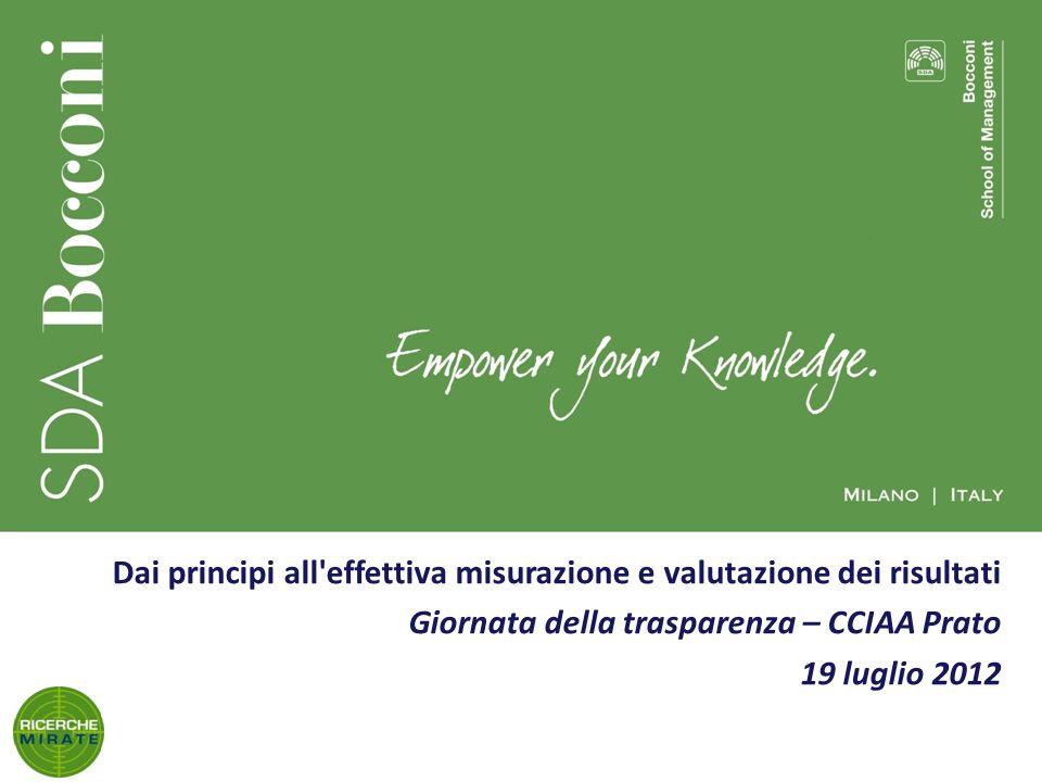 1 Dai principi all effettiva misurazione e valutazione dei risultati Giornata della trasparenza – CCIAA Prato 19 luglio 2012
