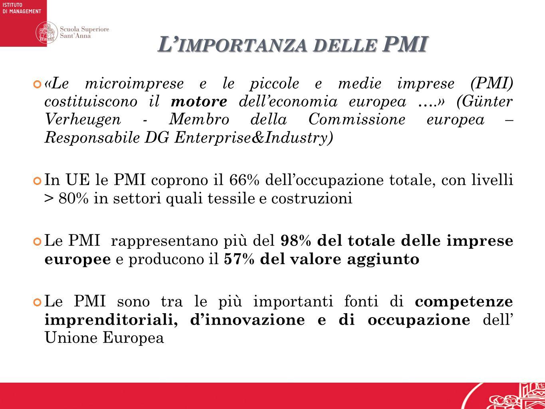 L IMPORTANZA DELLE PMI «Le microimprese e le piccole e medie imprese (PMI) costituiscono il motore delleconomia europea ….» (Günter Verheugen - Membro della Commissione europea – Responsabile DG Enterprise&Industry) In UE le PMI coprono il 66% delloccupazione totale, con livelli > 80% in settori quali tessile e costruzioni Le PMI rappresentano più del 98% del totale delle imprese europee e producono il 57% del valore aggiunto Le PMI sono tra le più importanti fonti di competenze imprenditoriali, dinnovazione e di occupazione dell Unione Europea