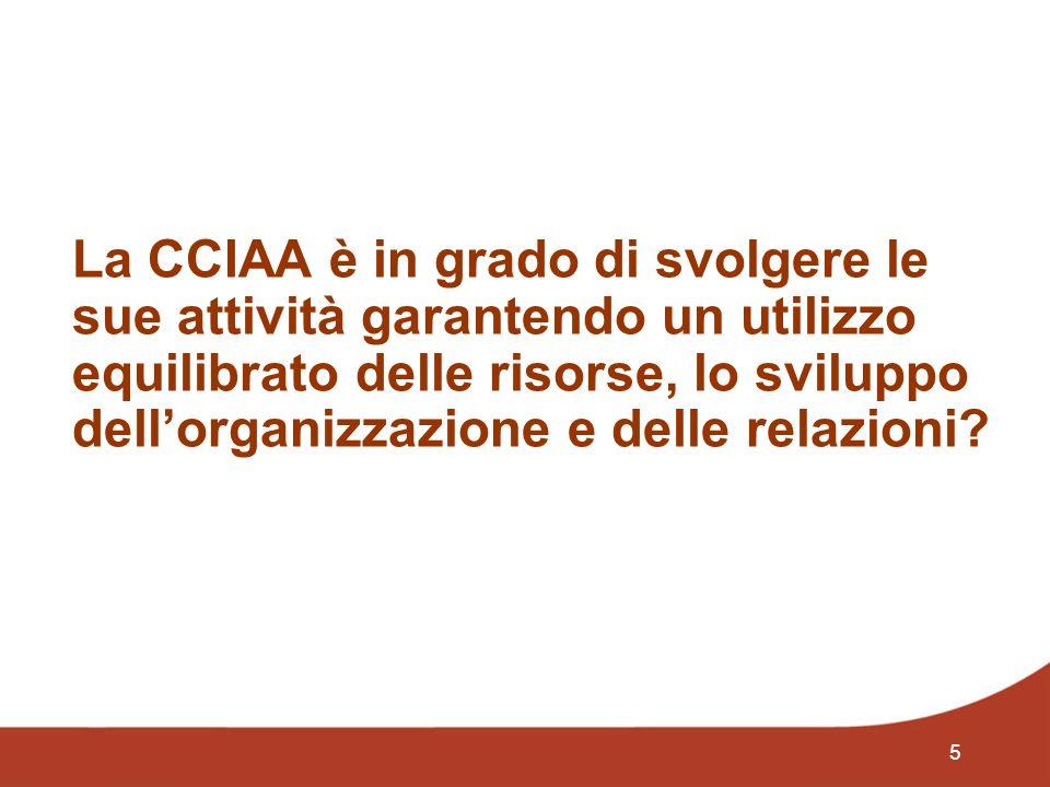 5 La CCIAA è in grado di svolgere le sue attività garantendo un utilizzo equilibrato delle risorse, lo sviluppo dellorganizzazione e delle relazioni
