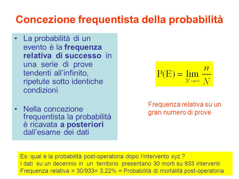 Legge dei grandi numeri P(E): ripetendo la prova un gran numero di volte si osserva che il rapporto f= m/n (frequenza relativa) dove m= numero di successi ed n= numero di prove tende ad avvicinarsi sempre più alla probabilità P(E) La frequenza relativa f al crescere del numero delle prove, tende, pur oscillando, verso un valore costante (stabilità della frequenza)