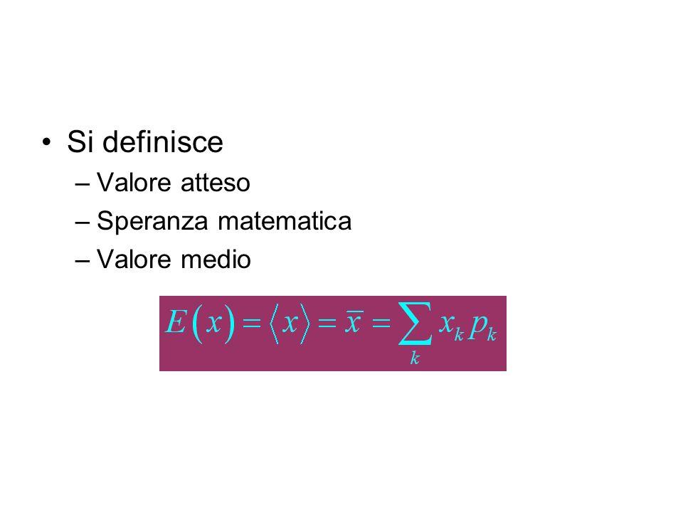 La variabile aleatoria discreta può essere definita da una tabella Esempio: –I numeri riportati sulle facce di un dado Attenzione: i numeri potrebbero essere diversi –Anche le probabilità se il dado fosse truccato...