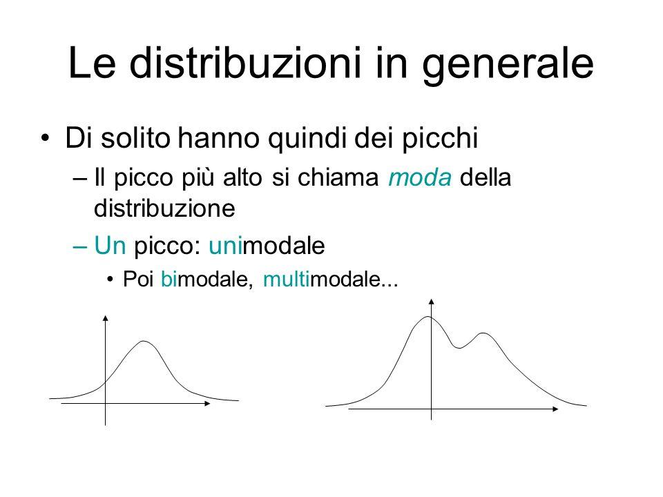Le distribuzioni in generale Si definisce la mediana È definita con unequazione integrale Non gode di proprietà di linearità Molto utile e potente soprattutto nellanalisi delle serie temporali