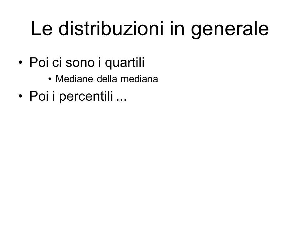 Le distribuzioni in generale Quasi sempre di una distribuzione si fornisce –La media –La standard deviation –La moda –A volte anche il momento secondo (o la sua radice) »Valore quadratico medio »È il caso delle velocità in un gas