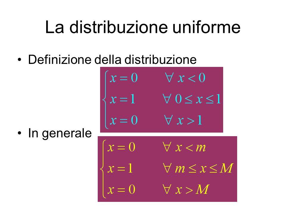 La distribuzione uniforme Definizione della distribuzione In generale