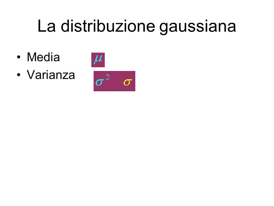 La distribuzione gaussiana Definiremo a partire da una variata normale x –La variata centrata (detta anche scarto) –La variata ridotta (detta anche scarto ridotto) Vediamo degli esempi grafici