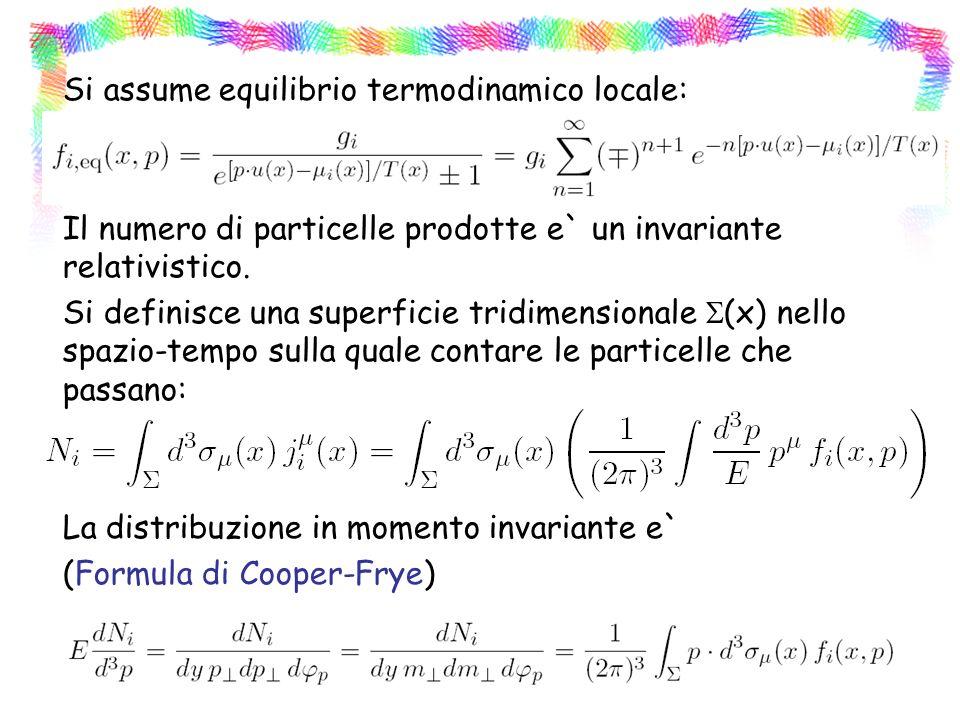 Si assume equilibrio termodinamico locale: Il numero di particelle prodotte e` un invariante relativistico.