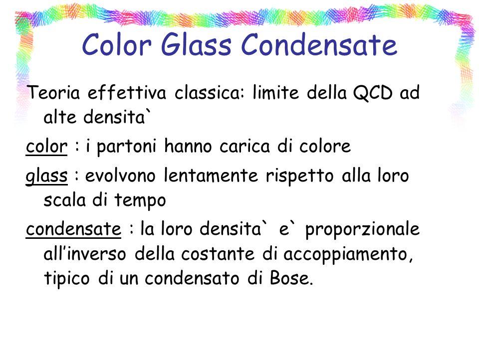 Color Glass Condensate Teoria effettiva classica: limite della QCD ad alte densita` color : i partoni hanno carica di colore glass : evolvono lentamente rispetto alla loro scala di tempo condensate : la loro densita` e` proporzionale allinverso della costante di accoppiamento, tipico di un condensato di Bose.