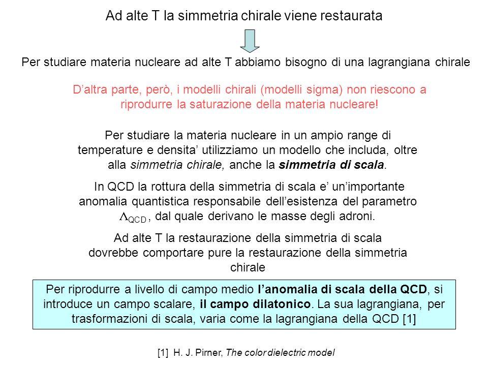 Ad alte T la simmetria chirale viene restaurata Daltra parte, però, i modelli chirali (modelli sigma) non riescono a riprodurre la saturazione della materia nucleare.
