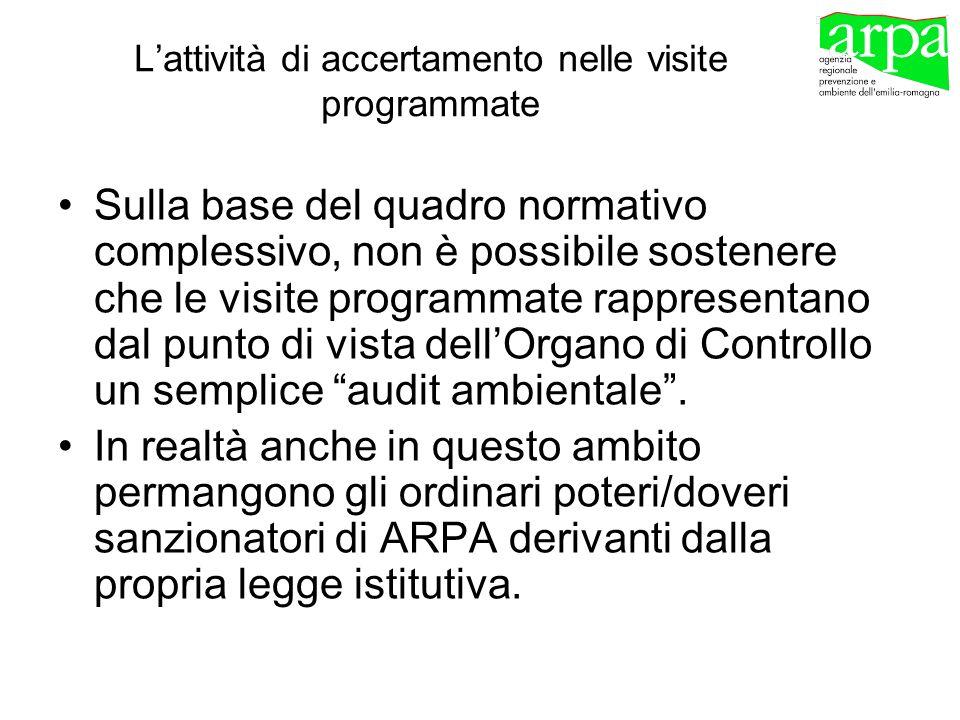 Lattività di accertamento nelle visite programmate Sulla base del quadro normativo complessivo, non è possibile sostenere che le visite programmate ra
