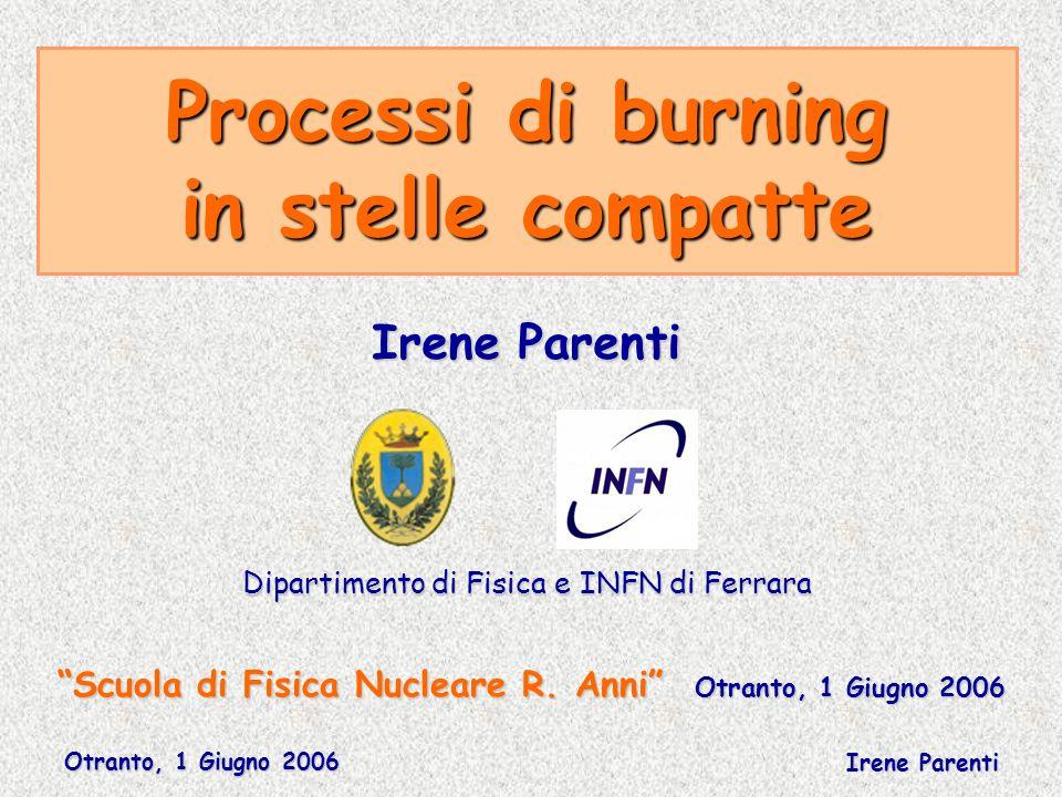 Otranto, 1 Giugno 2006 Irene Parenti Processi di burning in stelle compatte Scuola di Fisica Nucleare R. Anni Otranto, 1 Giugno 2006 Irene Parenti Dip