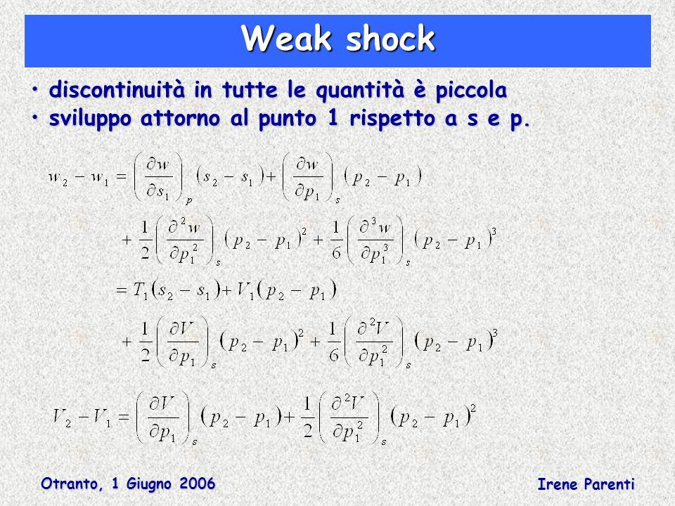 Otranto, 1 Giugno 2006 Irene Parenti Weak shock discontinuità in tutte le quantità è piccola discontinuità in tutte le quantità è piccola sviluppo attorno al punto 1 rispetto a s e p.