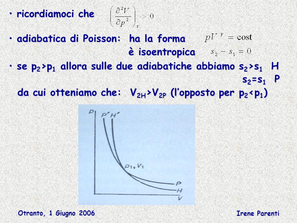 Otranto, 1 Giugno 2006 Irene Parenti ricordiamoci che ricordiamoci che adiabatica di Poisson: ha la forma adiabatica di Poisson: ha la forma è isoentropica è isoentropica se p 2 >p 1 allora sulle due adiabatiche abbiamo s 2 >s 1 H se p 2 >p 1 allora sulle due adiabatiche abbiamo s 2 >s 1 H s 2 =s 1 P s 2 =s 1 P da cui otteniamo che: V 2H >V 2P (lopposto per p 2 V 2P (lopposto per p 2 <p 1 )