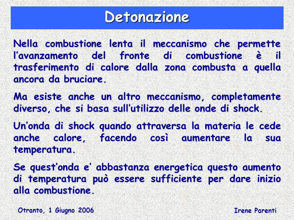 Otranto, 1 Giugno 2006 Irene Parenti Detonazione Nella combustione lenta il meccanismo che permette lavanzamento del fronte di combustione è il trasferimento di calore dalla zona combusta a quella ancora da bruciare.