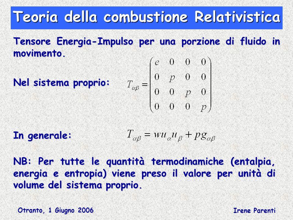 Otranto, 1 Giugno 2006 Irene Parenti Teoria della combustione Relativistica Tensore Energia-Impulso per una porzione di fluido in movimento. Nel siste