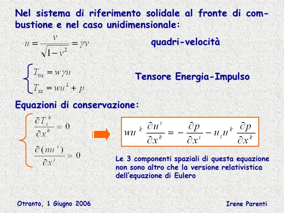 Otranto, 1 Giugno 2006 Irene Parenti Nel sistema di riferimento solidale al fronte di com- bustione e nel caso unidimensionale: quadri-velocità Tensore Energia-Impulso Equazioni di conservazione: Le 3 componenti spaziali di questa equazione non sono altro che la versione relativistica dellequazione di Eulero