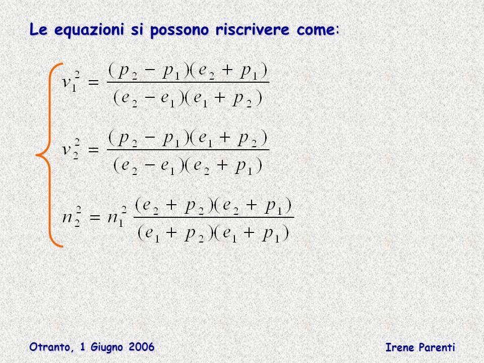 Otranto, 1 Giugno 2006 Irene Parenti Le equazioni si possono riscrivere come: