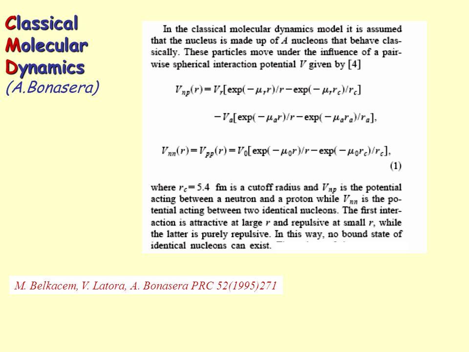 Classical Molecular Dynamics Classical Molecular Dynamics (A.Bonasera) M. Belkacem, V. Latora, A. Bonasera PRC 52(1995)271