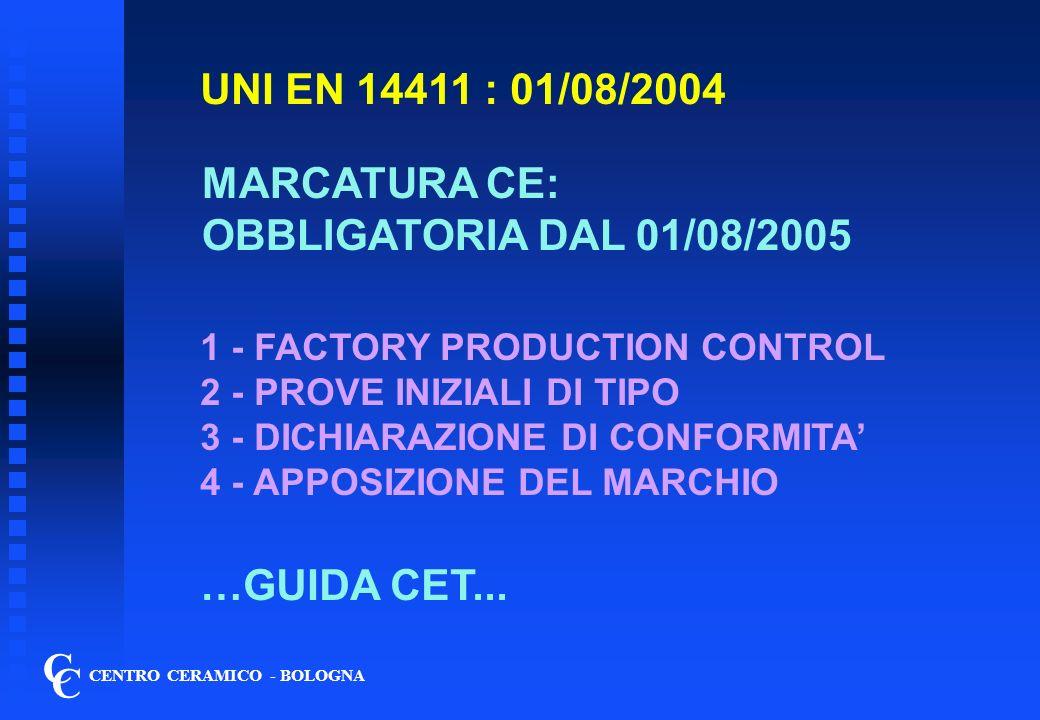 1 - FACTORY PRODUCTION CONTROL C C CENTRO CERAMICO - BOLOGNA SISTEMA DI CONTROLLO ORGANIZZATO E DOCUMENTATO: Materie prime, processo/semilavorati/impianti; Prodotto finito + Tarature strumenti RINTRACCIABILITA 1 - CERTIFICAZIONE ISO 9001 2- CERTIFICAZIONE DI PRODOTTO 3 - ….DA FARE… 4 - CONTROLLI P.F.: cfr UNI EN ISO 10545-1