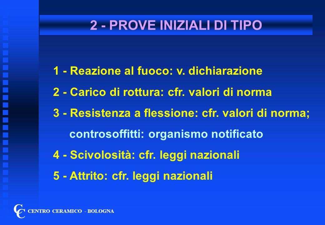 2 bis - PROVE INIZIALI DI TIPO C C CENTRO CERAMICO - BOLOGNA 6 - Sbalzi termici:per pareti esterne; 7 - Gelo/disgelo: per esterni 8 - Cessione Pb/Cd: cfr.