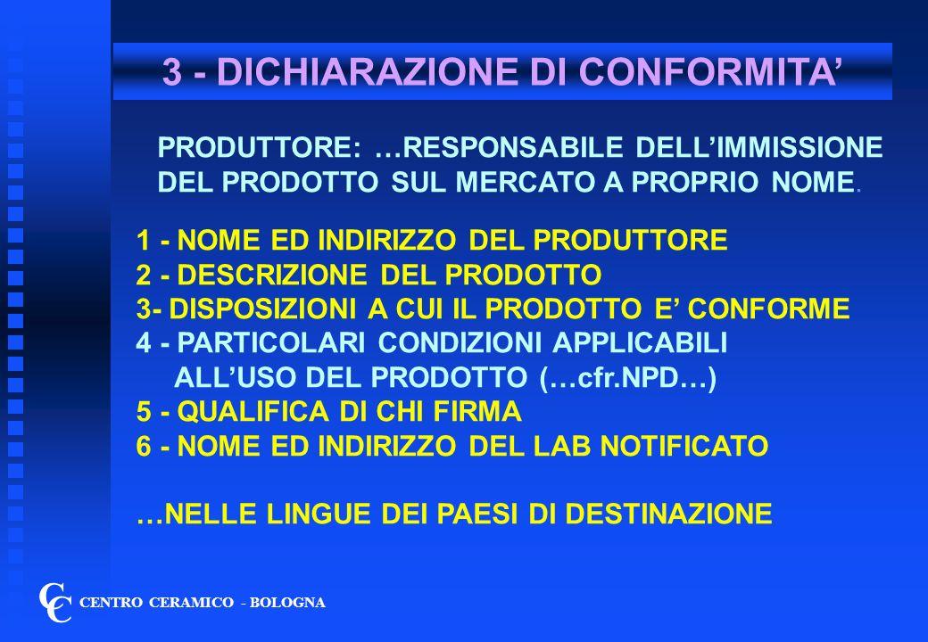 4 - APPOSIZIONE DEL MARCHIO C C CENTRO CERAMICO - BOLOGNA 1 - INFORMAZIONI MINIME (es.
