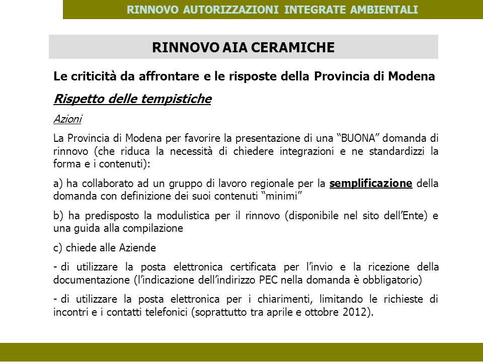 PES. MOD. 06 del 14/11/08 RINNOVO AUTORIZZAZIONI INTEGRATE AMBIENTALI Le criticità da affrontare e le risposte della Provincia di Modena Rispetto dell