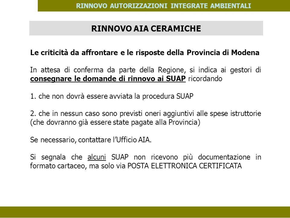 PES. MOD. 06 del 14/11/08 RINNOVO AUTORIZZAZIONI INTEGRATE AMBIENTALI Le criticità da affrontare e le risposte della Provincia di Modena In attesa di