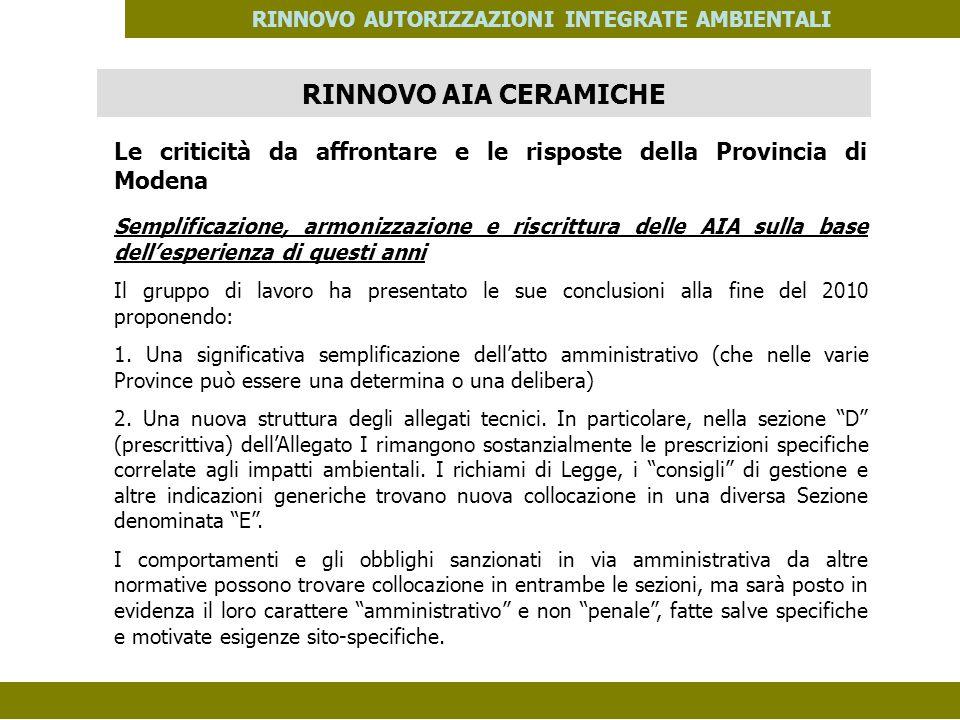 PES. MOD. 06 del 14/11/08 RINNOVO AUTORIZZAZIONI INTEGRATE AMBIENTALI Le criticità da affrontare e le risposte della Provincia di Modena Semplificazio