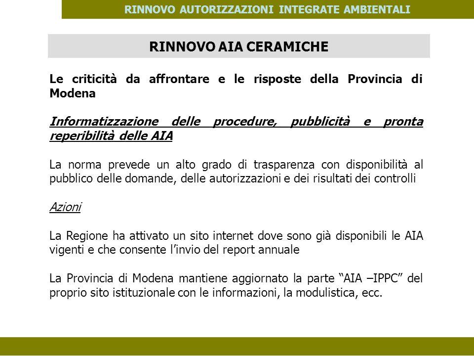 PES. MOD. 06 del 14/11/08 RINNOVO AUTORIZZAZIONI INTEGRATE AMBIENTALI Le criticità da affrontare e le risposte della Provincia di Modena Informatizzaz