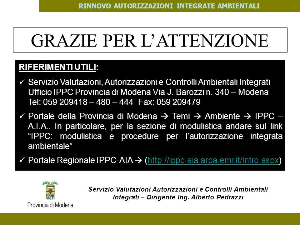 PES. MOD. 06 del 14/11/08 RINNOVO AUTORIZZAZIONI INTEGRATE AMBIENTALI GRAZIE PER LATTENZIONE RIFERIMENTI UTILI: Servizio Valutazioni, Autorizzazioni e