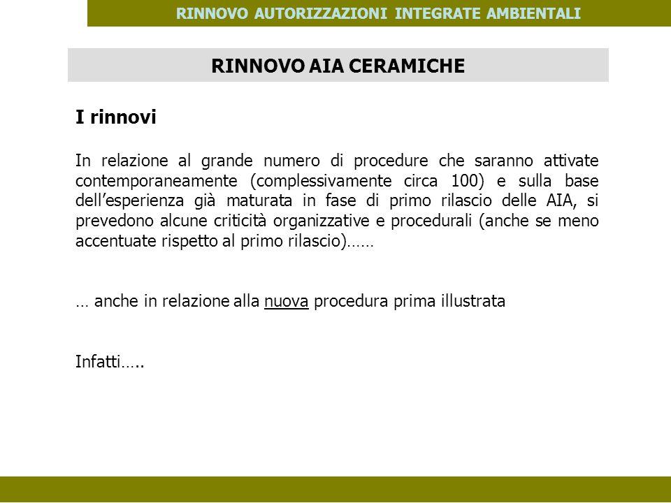 PES. MOD. 06 del 14/11/08 RINNOVO AUTORIZZAZIONI INTEGRATE AMBIENTALI I rinnovi In relazione al grande numero di procedure che saranno attivate contem