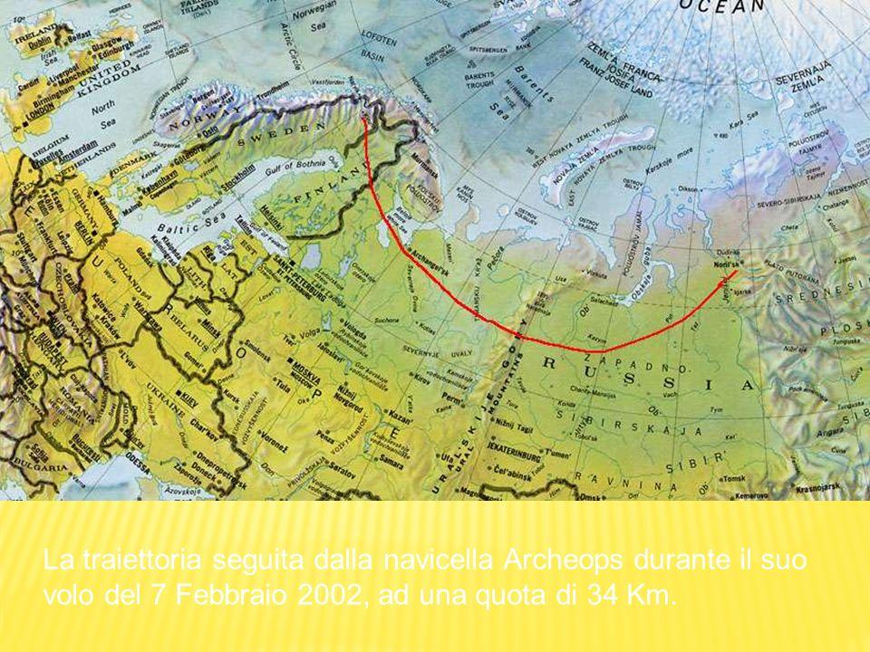 La traiettoria seguita dalla navicella Archeops durante il suo volo del 7 Febbraio 2002, ad una quota di 34 Km.